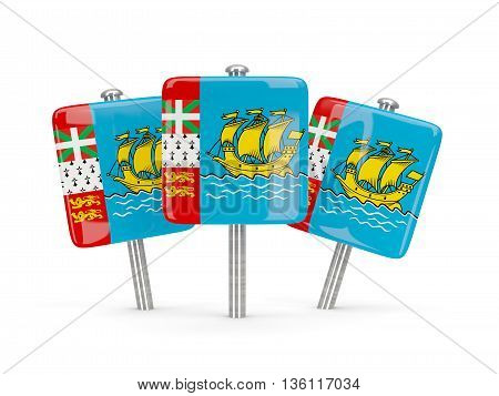 Flag Of Saint Pierre And Miquelon, Three Square Pins