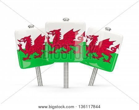 Flag Of Wales, Three Square Pins