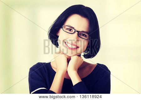 Smiling student girl in casual clothes
