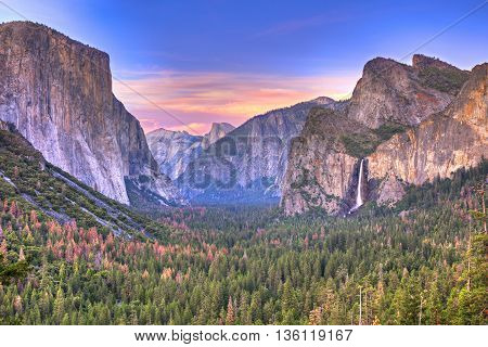 Sunset at Yosemite National Park with Bridalveil Fall El Capitan and Half Dome.