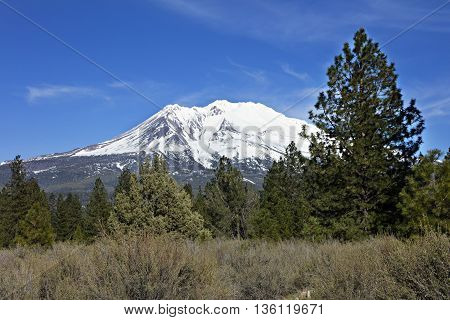 Mount Shasta on an evening in late Spring.