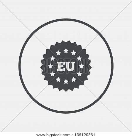 European union icon. EU stars symbol. Round button with flat icon. Vector