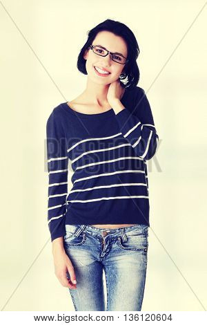 Beautiful young woman ( student ) in casual clothes