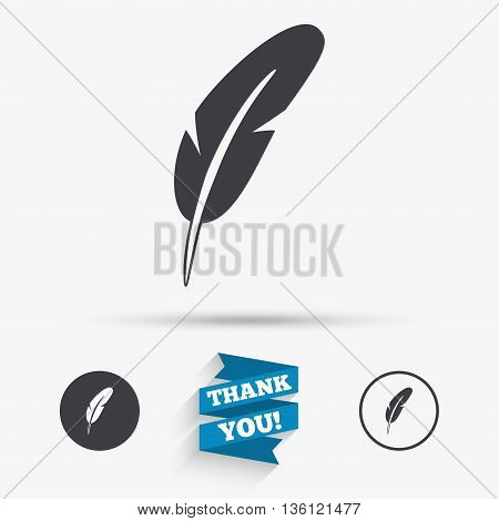 Feather sign icon. Retro pen symbol. Light weight symbol. Flat icons. Buttons with icons. Thank you ribbon. Vector