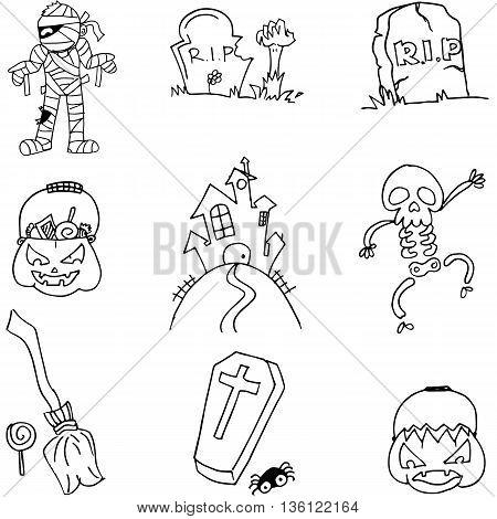 Halloween flat black white element vector illustration