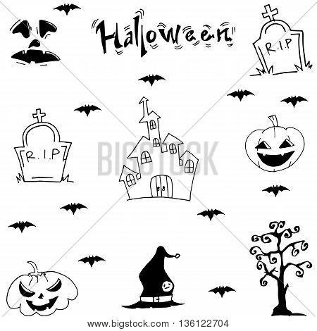 Halloween castle bat pumpkins tomb vector illustration