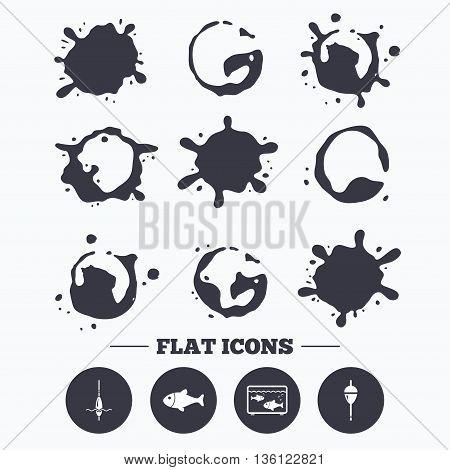 Paint, coffee or milk splash blots. Fishing icons. Fish with fishermen hook sign. Float bobber symbol. Aquarium icon. Smudges splashes drops. Vector