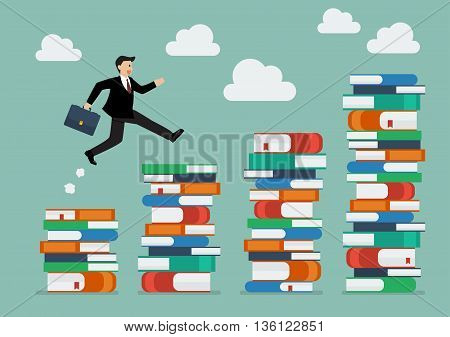 Businessman jumping over higher stack of books. Business education concept