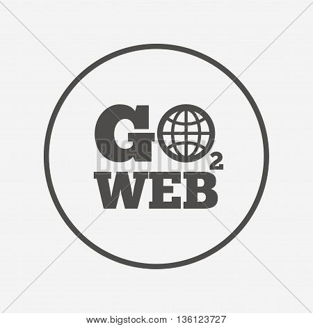 Go to Web icon. Internet access symbol. Flat go to web icon. Simple design go to web symbol. Go to web graphic element. Round button with flat go to web icon. Vector
