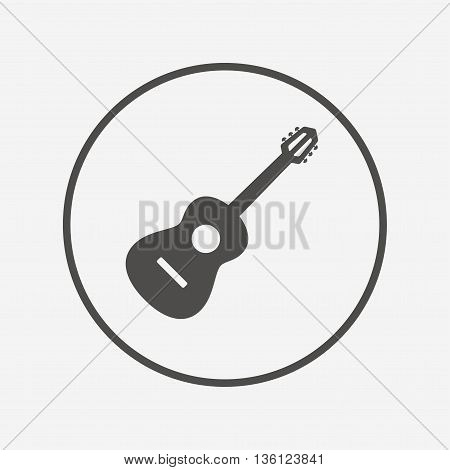 Acoustic guitar sign icon. Music symbol. Flat guitar icon. Simple design guitar symbol. Guitar graphic element. Round button with flat guitar icon. Vector