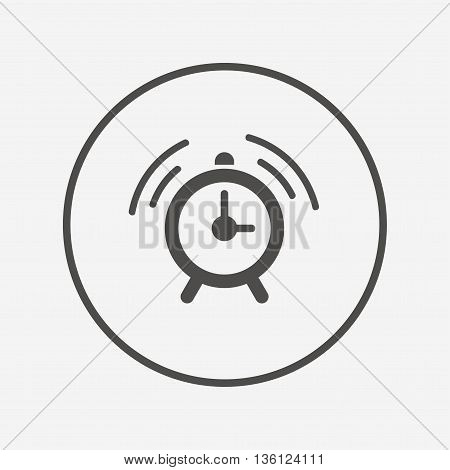 Alarm clock sign icon. Wake up alarm symbol. Flat alarm icon. Simple design alarm symbol. Alarm graphic element. Round button with flat alarm icon. Vector