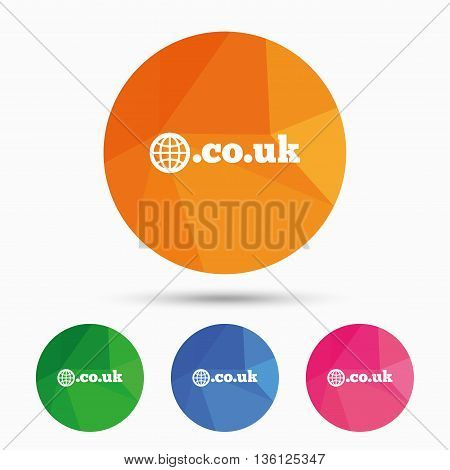Domain CO.UK sign icon. UK internet subdomain symbol with globe. Triangular low poly button with flat icon. Vector