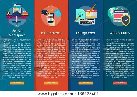 Web and Development Vertical Banner Concept | Set of great vertical banner flat design illustration concepts for web, development, concept, marketing and much more.