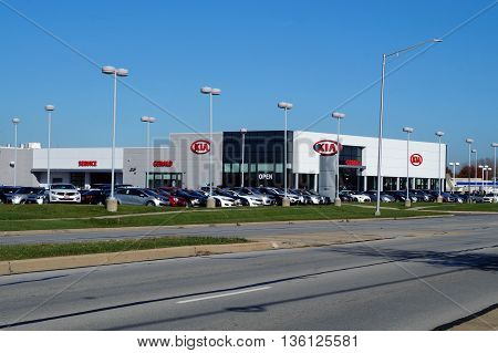 NAPERVILLE, ILLINOIS / UNITED STATES - NOVEMBER 3, 2015: One may purchase a Kia vehicle at the Gerald Kia dealership in Naperville.