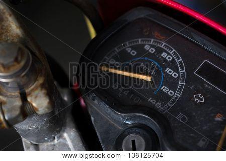 Grunge motorbike dashboard, panel, speed meter close up