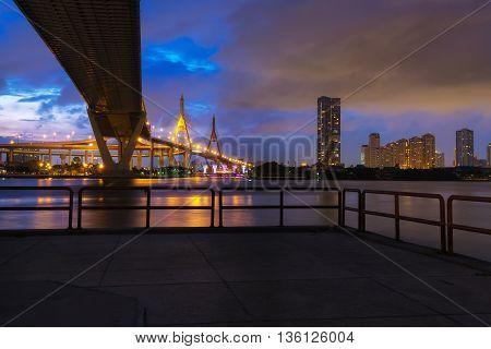 Under view of Bhumibol bridge with chao praya river in Bangkok, Thailand.