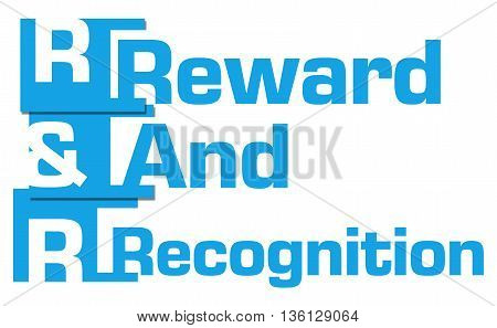R And R - Reward And Recognition text over blue background.