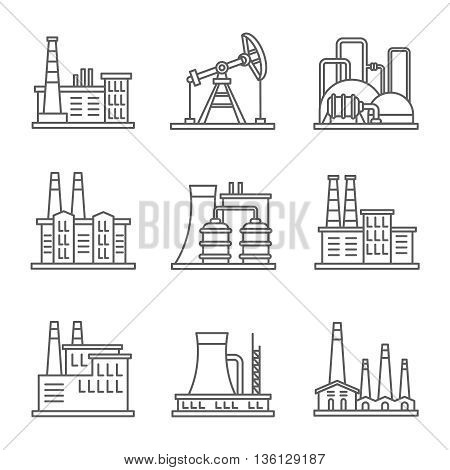 Heavy industry power plant and factory thin line vector icons. Set of nuclear factory, illustration power industry of factory