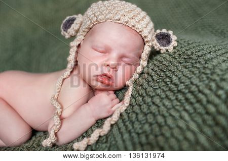 Closeup portrait of newborn baby beige knitted hat with round ears, a little fluffy hair, sleeps on the dark green blanket, lying on tummy,put hands behind his head and with legs tucked under herself