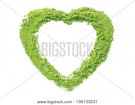 Powdered matcha green tea in heart shape, isolated on white
