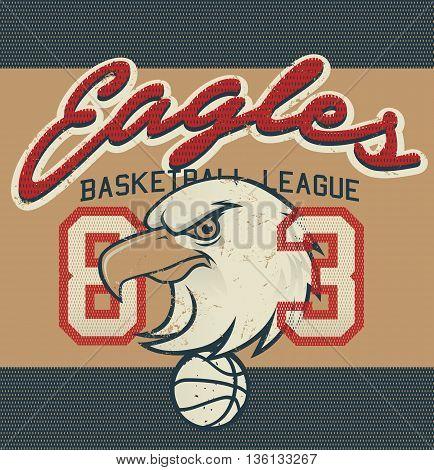 Eagles Basketball league 83 jersey print .