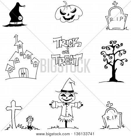 Halloween element doodle vetor art castle tomb scarecrow illustration
