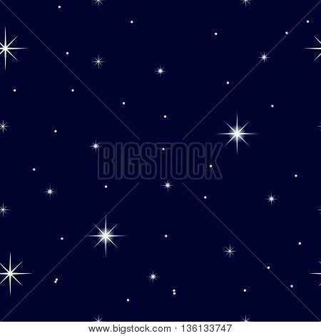 Celestial seamless background with sparkling stars glittering on a dark blue sky in the night