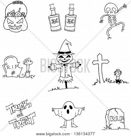 Flat Halloween character doodle vector hand draw