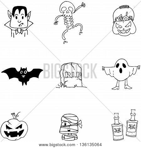 Doodle Halloween character flat on white backgrounds