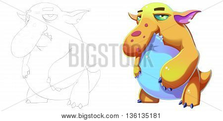 Coloring Book and Monster Creature Character Design Set 46 Big Nose Blob Fish Monkey Creature Monster isolated on White Background Realistic Fantasy Cartoon Style Character Story Card Sticker Design