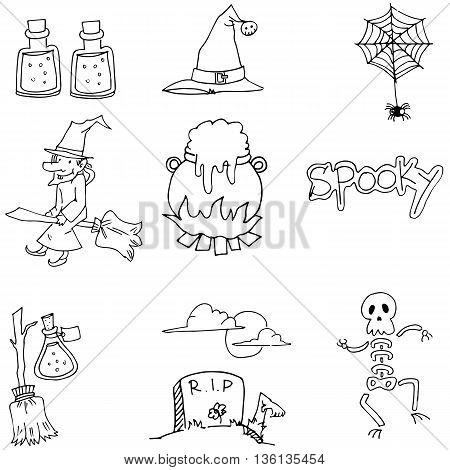 Element Halloween flat doodle vector on whiite backgrounds