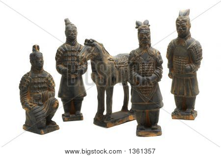 Terracotta Warriors Of Oin Dynasty (Isolated On White)