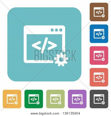 Flat web development icons on rounded square color backgrounds.