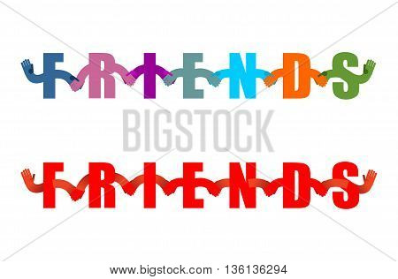 Friends Lettring Enblem. Letters Holding Hands. Handshake Typography. Friendship Logo Text