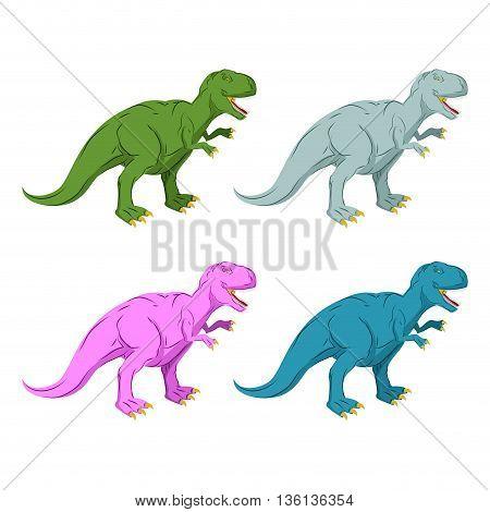 Dinosaur Multicolored Set. Pink Tyrannosaurus Rex. Blue Prehistoric Reptile. Ancient Predator. Anima