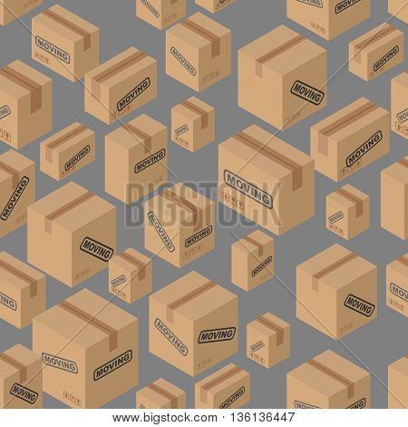 Moving Seamless Pattern. Lot Of Cardboard Boxes Background. Paper Packaging For Things.