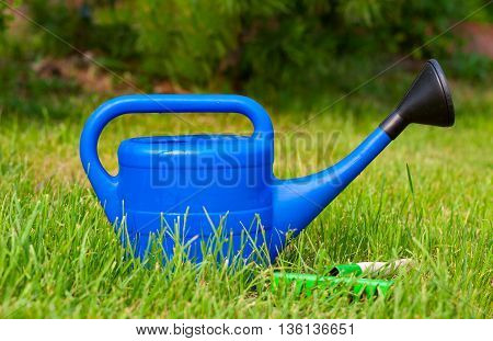 Blue plastic watering can and small rake on the background of green grass in summer in the garden outdoors. Bright equipment for garden care