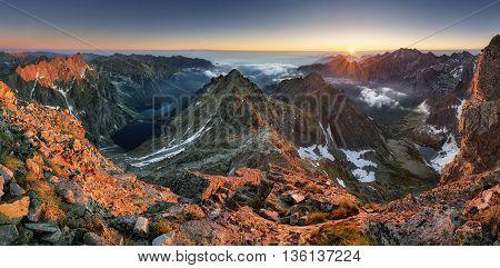 Landscape mountain in Tatras peak Rysy Slovakia and Poland