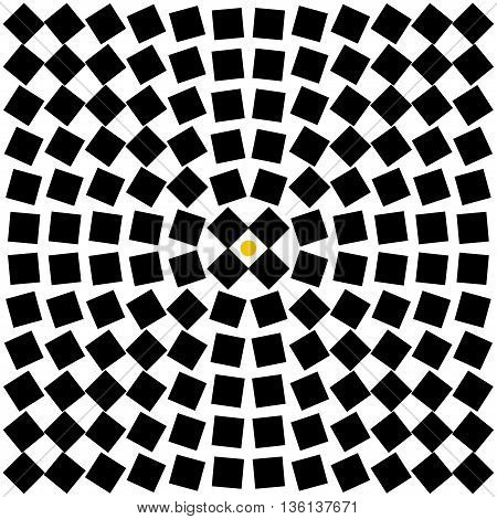 abstract background from black squares with yellow dot in center. Stock vector illustration