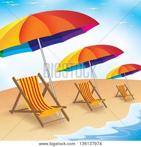 Beach umbrella and three chairs on the beach. Blue sky and sand.