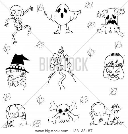 Flat Halloween hand draw in doodle illustration
