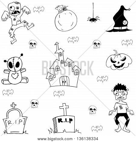 Halloween zombie castle graveyard in doodle on white backgrounds