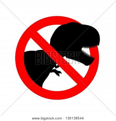 Stop Dinosaur. Prohibited Tirranozavr Rex. Crossed-aggressive Prehistoric Reptile. Emblem Against An