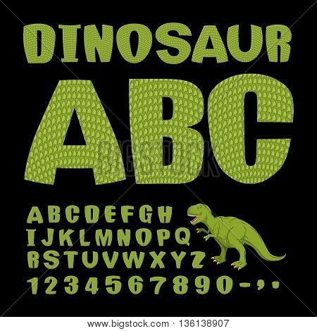 Dinosaur Abc. Font Of Prehistoric Reptile. Green Letters. Texture Of Skin Of Lizard. Dino Monster Al