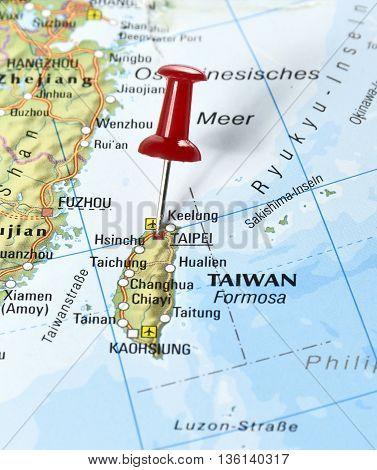 Map with pin set on Taipei, Taiwan.