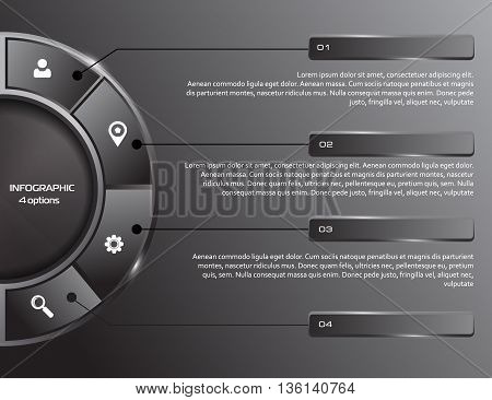 Vector Template for infographic, presentation, graph. Business concept with 4 options, parts, steps or processes. dark background