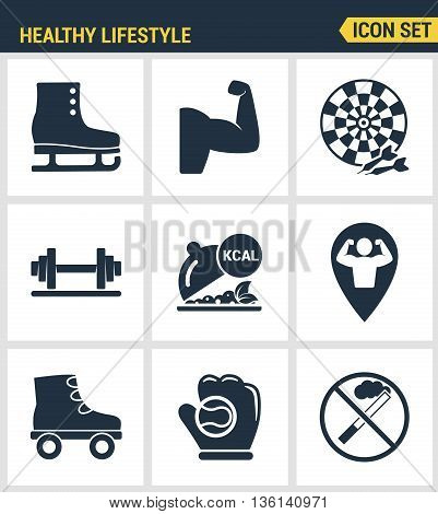 Icons set premium quality of healthy lifestyle icon set collection gym rollers baseball fitness sport. Modern pictogram collection flat design style symbol collection. Isolated white background.