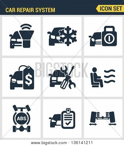 Icons set premium quality of car repair system icon set automobile instrument service. Modern pictogram collection flat design style symbol collection. Isolated white background.