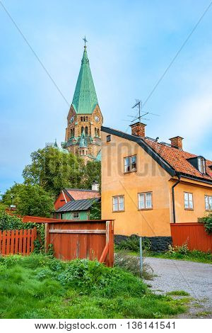 Old buildings at Vita Bergen with a Sofia church in the background. Sodermalm Stockholm Sweden