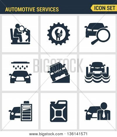 Icons set premium quality of automotive services transportation technician system. Modern pictogram collection flat design style symbol collection. Isolated white background.